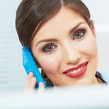 Smiling business woman on phone at office. Close up female port Stock Images