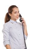 Smiling business woman phone talking isolated Stock Photo