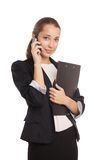 Smiling business woman phone talking isolated Royalty Free Stock Photography
