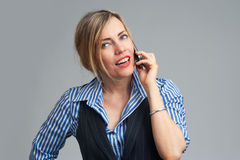 Smiling business woman phone talking Stock Photography