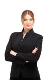 Smiling business woman portrait isolated on white Royalty Free Stock Photography