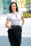 Smiling business woman portrait outdoor Stock Images