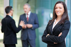 Smiling business woman portrait outdoor Royalty Free Stock Images