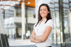 Smiling business woman portrait outdoor Stock Image