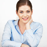 Smiling business woman portrait  white. Background Stock Images