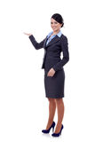 Smiling business woman presenting. Isolated over white background Stock Image