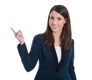 Smiling business woman presenting. Isolated over white backgroun Royalty Free Stock Photography