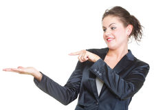 Smiling business woman presenting Isolated Stock Photos