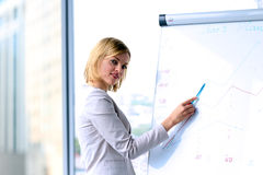 Smiling business woman presenting. Presentation on a background Stock Images