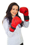Smiling business woman ready for fight Stock Photography