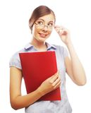 Smiling business woman with red folder royalty free stock photography