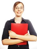 Smiling business woman with red folder Stock Image