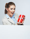 Smiling business woman red gift box hold. Stock Photo