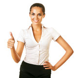 Smiling business woman says ok Stock Photography