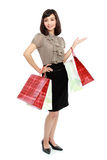 Smiling business woman with shopping bags Royalty Free Stock Photos
