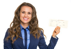 Smiling business woman showing air tickets Stock Photography