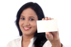 Smiling business woman showing blank business card Stock Photos