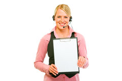 Smiling business woman showing blank clipboard Stock Photography