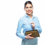Smiling business woman showing credit card. Stock Photography