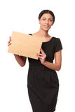 Smiling business woman showing envelope Royalty Free Stock Photo
