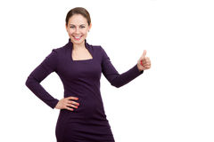 Smiling business woman showing a gesture of excellent Royalty Free Stock Photos