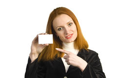 Smiling business woman showing the sign Royalty Free Stock Images