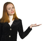 Smiling business woman showing sign Stock Photos