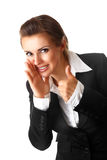 Smiling business woman showing thumbs up Stock Photo