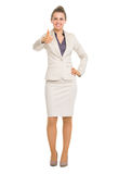 Smiling business woman showing thumbs up Royalty Free Stock Image