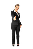 Smiling business woman showing thumbs up gesture Stock Photography
