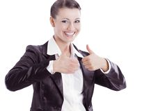 Smiling business woman showing thumbs up.isolated on a white Royalty Free Stock Photos