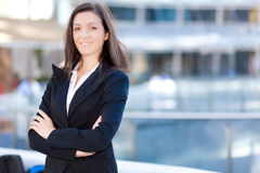 Smiling business woman standing outdoor Stock Image