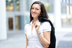 Smiling business woman standing outdoor Royalty Free Stock Photography