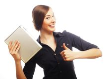 Smiling business woman with tablet thumb up show. Stock Photos