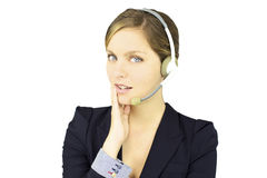 Smiling business woman talking with headset Royalty Free Stock Photo