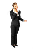 Smiling business woman talking on mobile phone Royalty Free Stock Photo