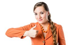 Smiling business woman thumb up show positive isolated Stock Images