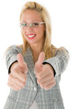 Smiling business woman with thumbs up Royalty Free Stock Photo