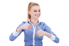 Smiling business woman with thumbs up gesture Royalty Free Stock Photos