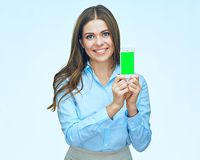 Smiling business woman using mobile phone isolated portrait. Long hair Royalty Free Stock Photo