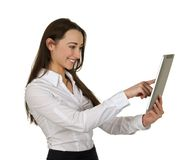 Smiling business woman using tablet computer Royalty Free Stock Photography