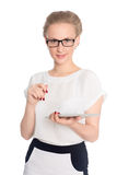 Smiling business woman using tablet  PC Royalty Free Stock Photos