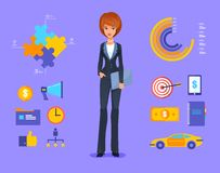 Smiling business woman vector Illustration of Stock Photos