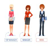 Smiling business woman vector Illustration of Royalty Free Stock Photography