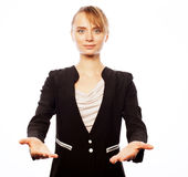 Smiling business woman welcoming Royalty Free Stock Photos