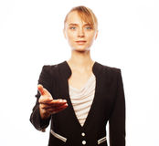 Smiling business woman welcoming Stock Images