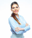 Smiling business woman white background isolated. Royalty Free Stock Photo