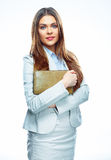 Smiling business woman. White background isolated Purse Stock Images