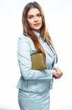 Smiling business woman. White background isolated Purse Stock Photo
