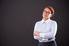 Smiling businesslady in glasses Stock Photos